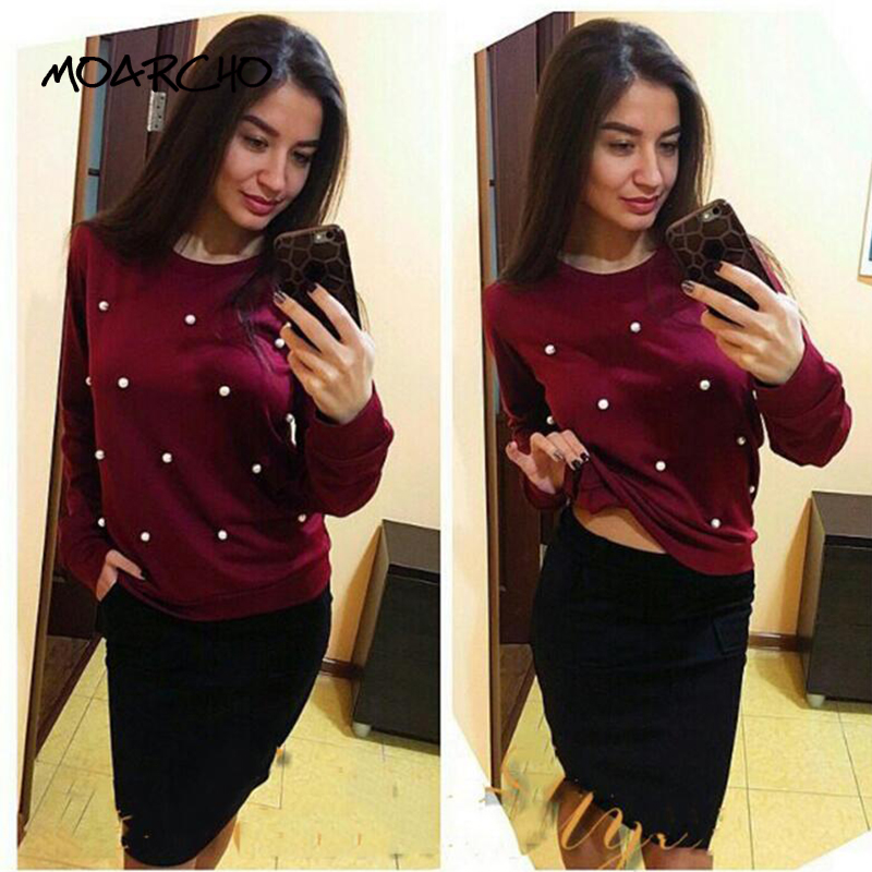 MOARCHO 2017 Women Fashion Elegant Pearls Beading Casual Coat Outfit Tops New Autumn Winter Long Sleeve