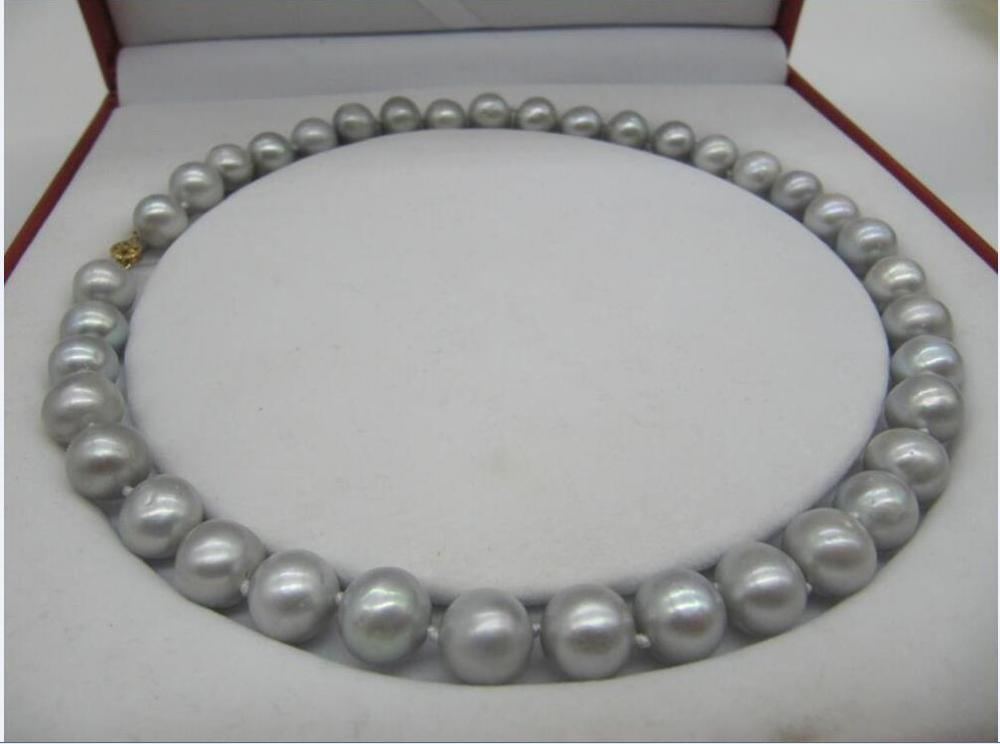 huge New AAA 10-11mm Round gray Natural Real Fresh pearl necklace 18925silverhuge New AAA 10-11mm Round gray Natural Real Fresh pearl necklace 18925silver