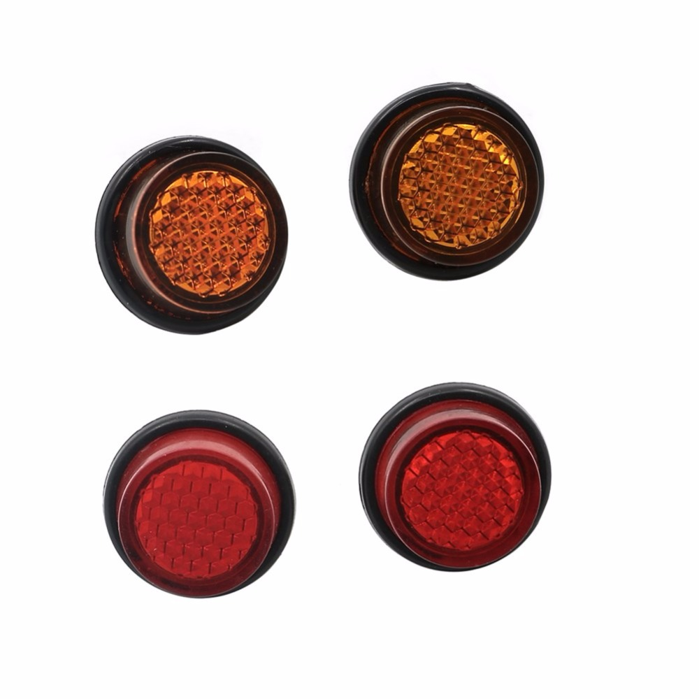 2Pcs Universal Round Side Reflector  Reflective Plate For ATV Dirt Bike  Motorcycle Bicycles Red Orange