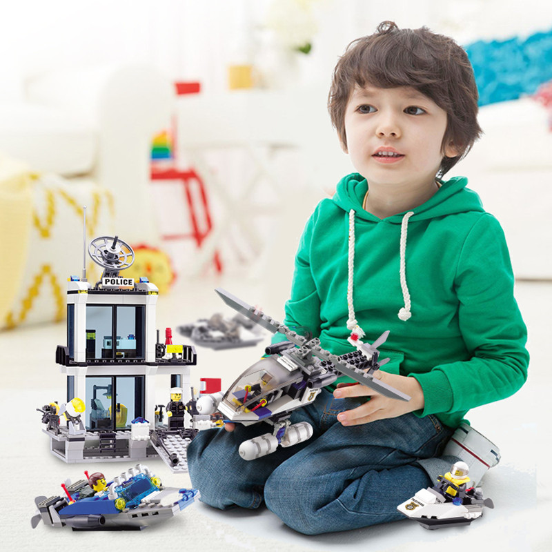 New year gifts Building Blocks bus Police Station truck City Plane ship Motorcycle Kids Children Toys Christmas Gifts