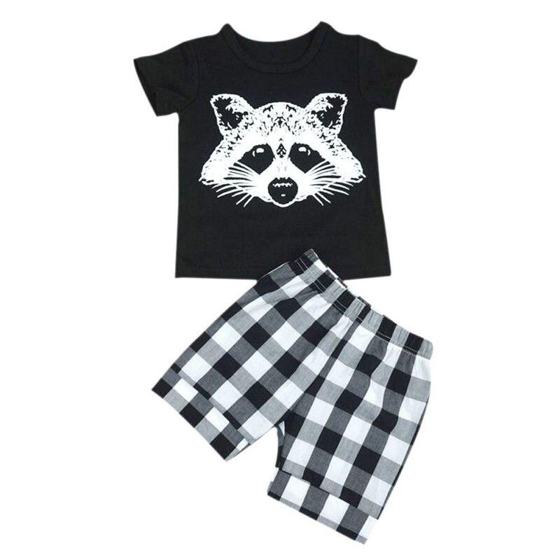 Summer Baby Boy Cloth Set Lattice Stripes Sets Fox Print Short Sleeve + England Lattice Shorts Leisur Clothing 2PCS S2