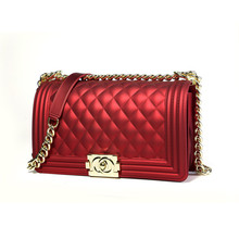 Elegant Solid Color Jelly Bags Women Gold Locks Chains Shoulder Messenger Fashion Diamond Plaid