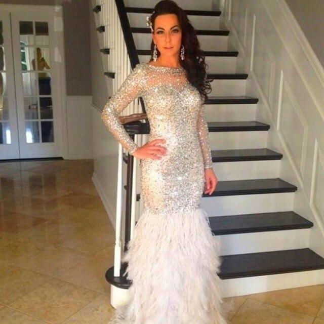 Elegant Long Sleeve Prom Dresses 2017 Sparking Beaded Crystals