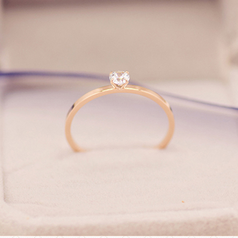 2020 Simple beautiful slim stainless steel crystal ring for women girl,fashion jewelry wholesale rose gold color anillos