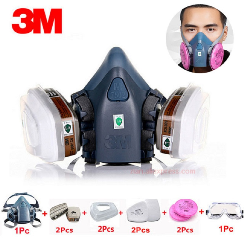 3M 7502 Gas Mask 10 In 1 Spray Paint Chemical Organic Gas Protection 6001/2091 Filter For Decoration Dust Protection