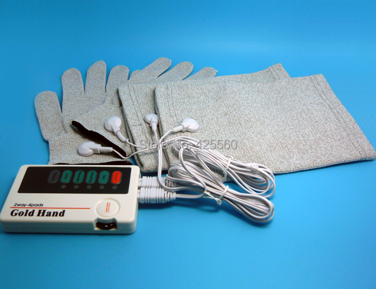 Dual TENS Machine Digital Electric Massager With Conductive Massage Gloves Kneepads 2 Pairs Electrode Pads