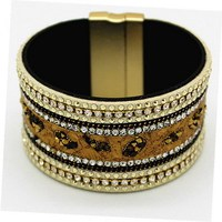 Genuine Leather Bracelet Women Punk Wide Leather Wrap Crystal Rhinestone Bangle Cuff Bracelet Wristband