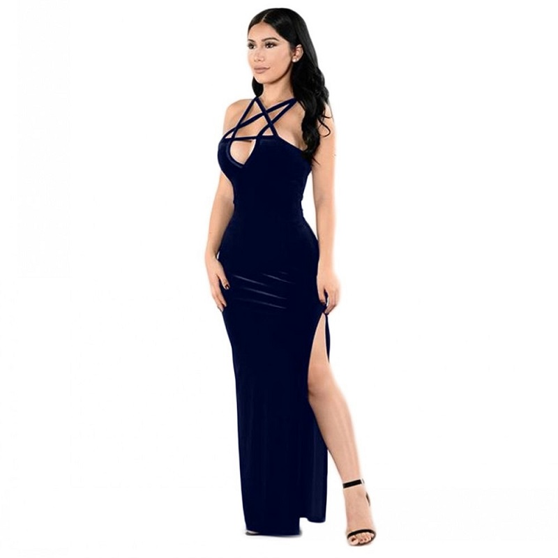 aadd40657 Women Pentagram Summer Dress Punk Dress Long Hollow Out Sexy Bandage Velvet  Sleeveless Dresses Plus Size
