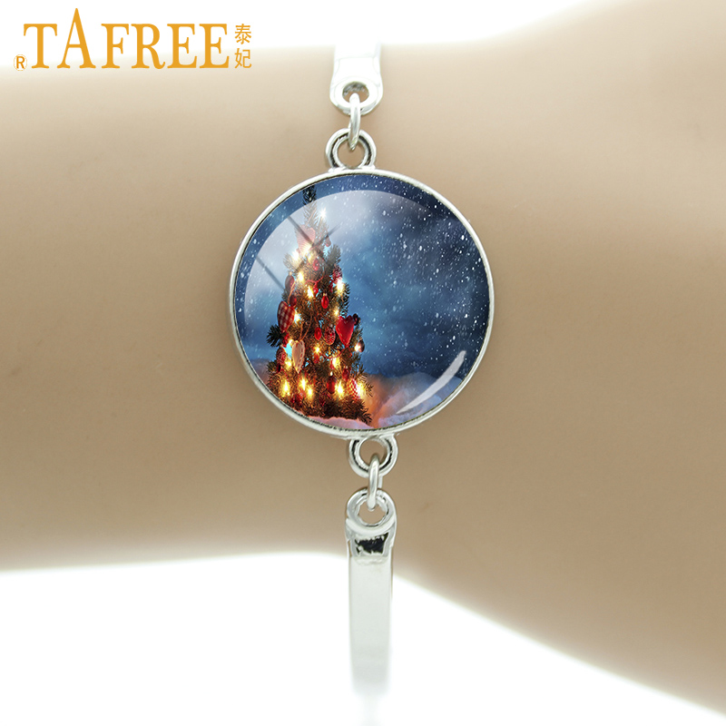 TAFREE 2017 new Christmas Tree bracelet Nightmare Before Christmas Jack Skellington bracelets for women kids gifts jewelry J98