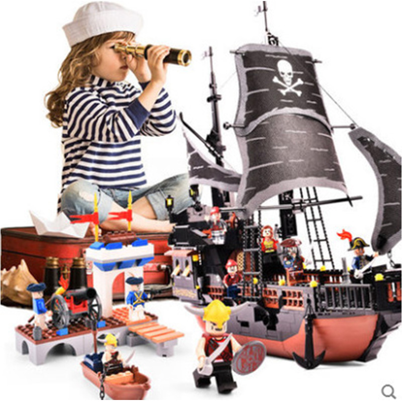 6 Styles Pirates Caribbean Black Pearl Ghost Ship Large Assemble Model Captain Jack Building Blocks Educational Birthday Gift