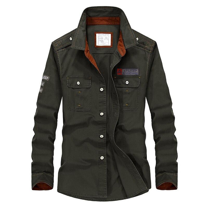 Плюс Размеры 5xl бренд Демисезонный Для мужчин рубашка с длинным рукавом Военная Униформа Стиль хлопковые свободные брюки-карго Рубашки для ...
