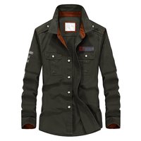 Plus Size 5XL Brand Spring Autumn Men Shirt Long Sleeve Military Style Cotton Loose Cargo Shirts