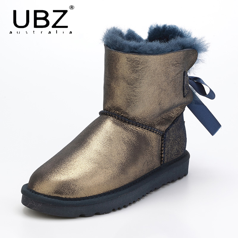 UBZ Women Snow Boots Winter Warm Flat Bottomed Large Boots Sheepskin Leather Boots Botas Mujer Fur Flat Shoes Free Shipping