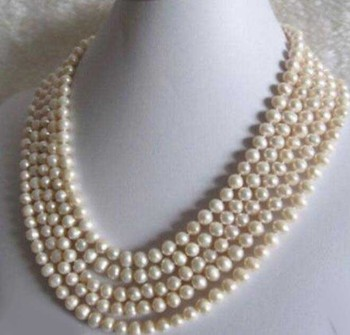 fine jewelry Beautiful 6-7mm 3-5 row  White Freshwater cultured Pearl Necklace