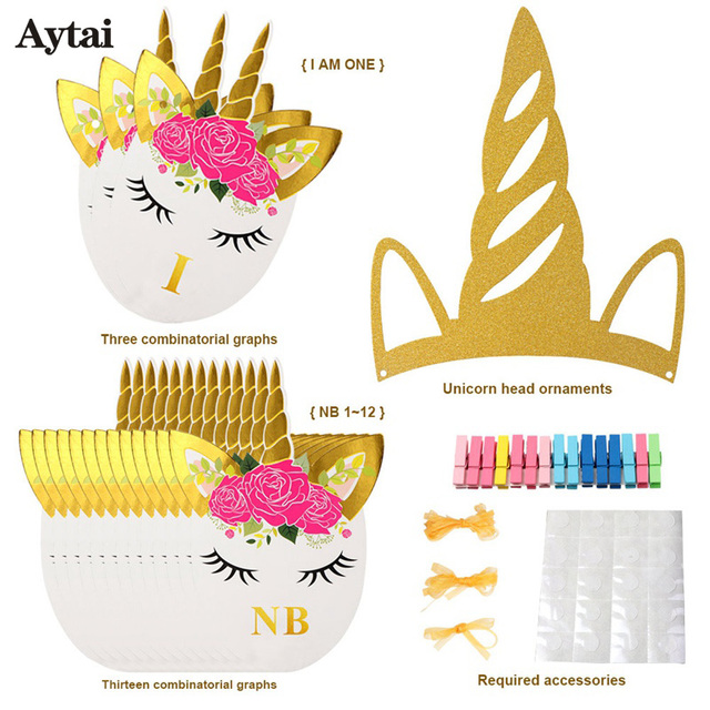 Aytai 1Set Unicorn Birthday Banner 1st birthday decorations Unicorn