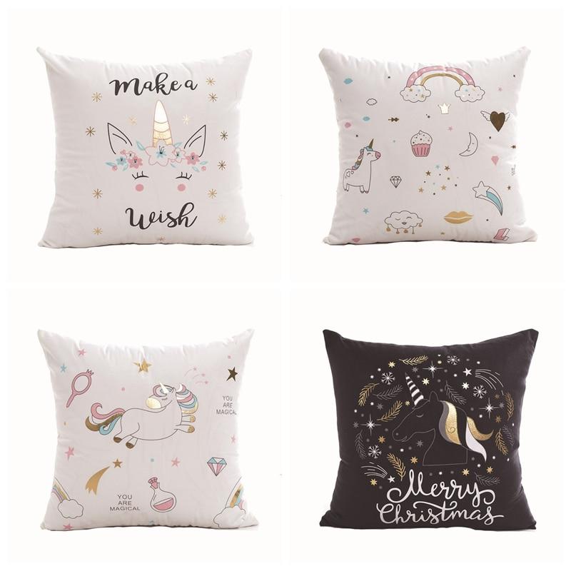 Super Soft Gold Foil Printed Pillows Cartoon Unicorn Velvet Fabric Cushion Decorative Pillow Home Decor Sofa Throw Pillows 18*18