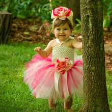 Девочка платье + головные уборы Ручной Работы Сладкий Принцесса Первый День Рождения Свадебные Цветы Туту Платья с Цветами Головной Убор 80147