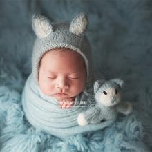 Lindo sombrero de Animal recién nacido fotografía apoyos ganchillo gato  Kitty azul bebé niño Bonnet Set 44b17fcfb3c