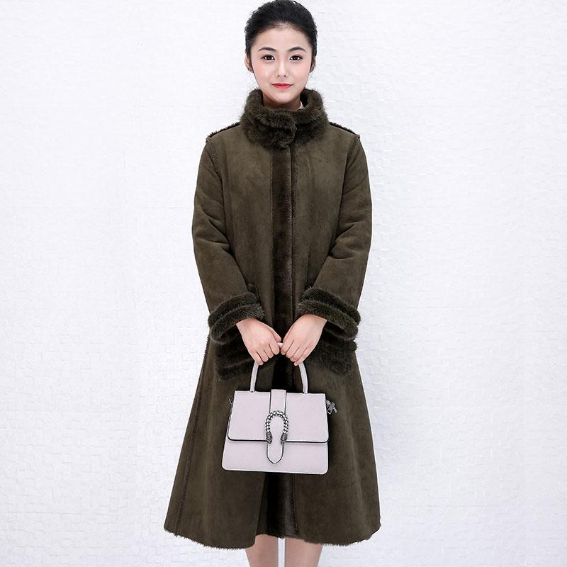 Veste d'hiver Femmes Vêtements 2018 Casual Coréen Élégant Lâche Réel Manteau De Fourrure 100% Laine Veste Mouton Mouton Fourrure Long Manteau ZT577