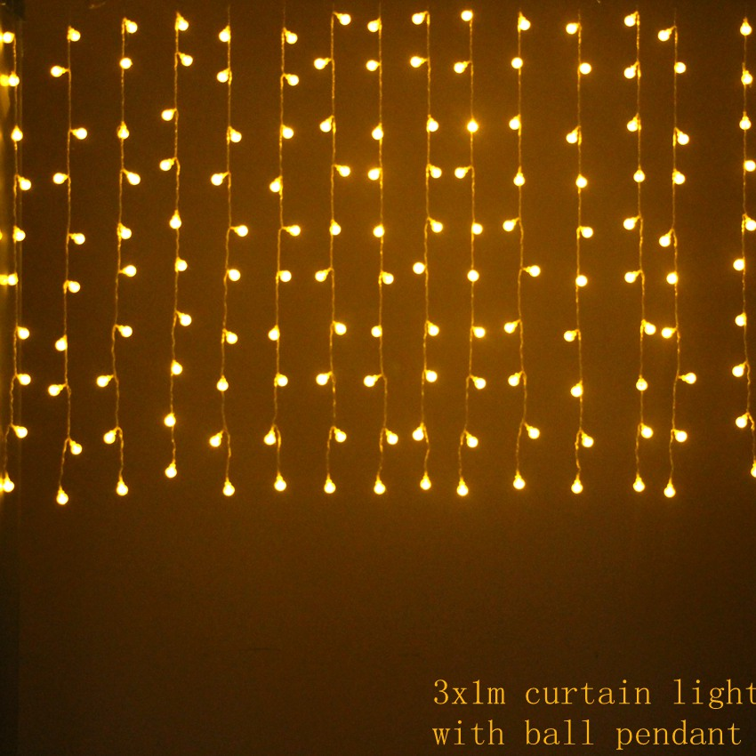 3mx1m 150 led Icicle Curtain Fairy String Light for Home bedroom Holiday Christmas wedding Party Xmas drop 1m 8 modes with balls ...