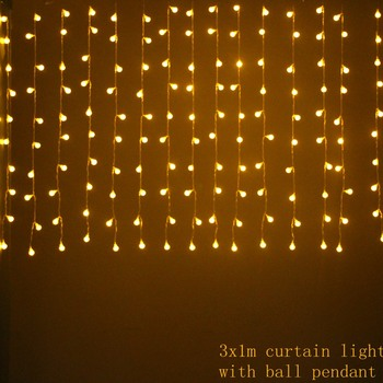 3mx1m 150 led Icicle Curtain Fairy String Light for Home bedroom Holiday Christmas wedding Party Xmas drop 1m 8 modes with balls