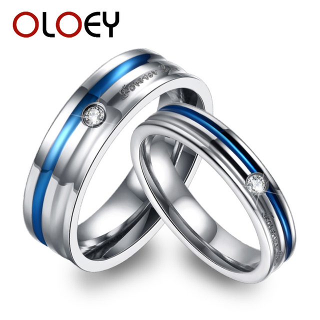 Forever Love Design Couples Wedding Bands Jewelry Blue Titanium ...