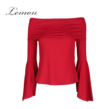 Lemon New Fashion Sexy Slash Neck Chic Tees Red Off Shoulder Flare Sleeve Women Tops Elegant Casual Slim Knitted T-shirt