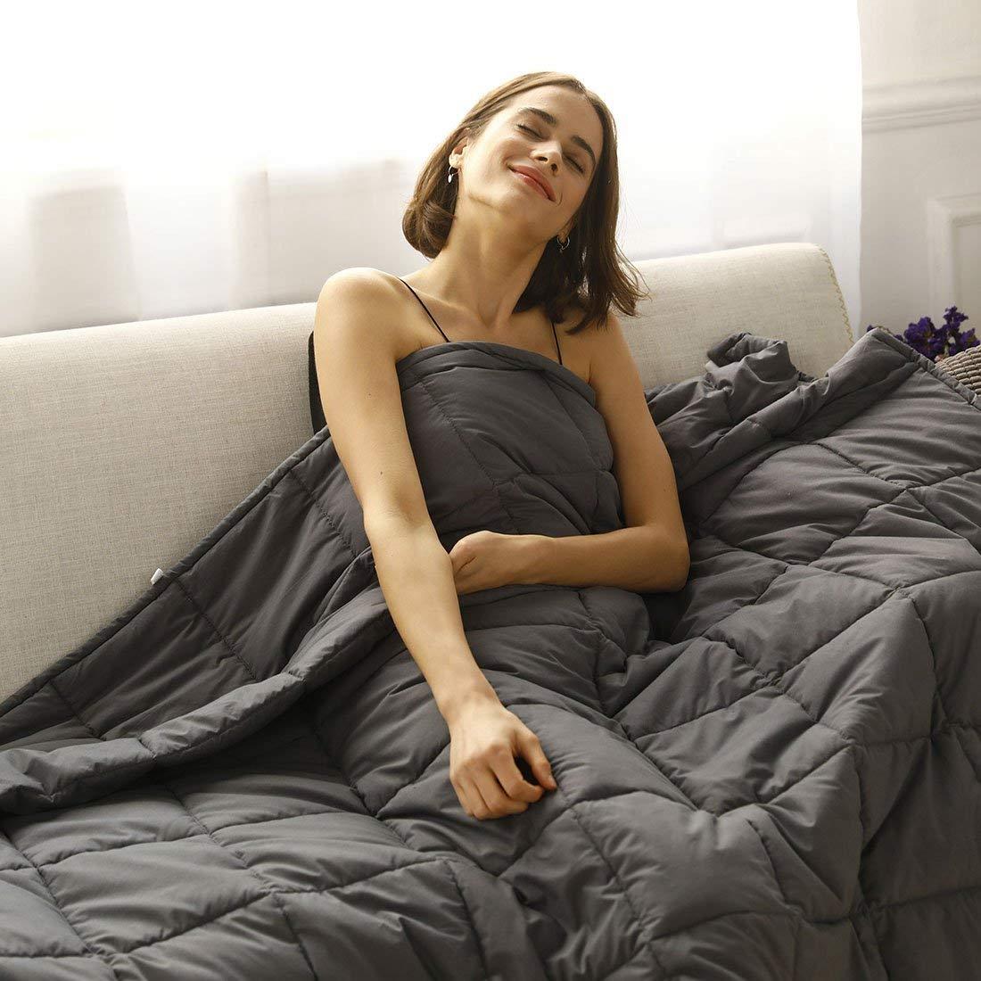 Raffreddare Ponderata Gravità Pesante Coperta per Adulti Donne Uomini Naturale Sonno Profondo, ridurre Lo Stress, Ansia, autismo (Grigio Scuro) 60*80 inch