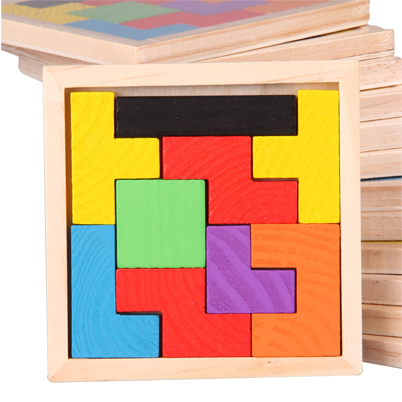 Montessori Educational Wooden Toys for Children Early Learning Math Tangram Brain-Teaser Puzzles Wood Tetris Game Preschool Toy