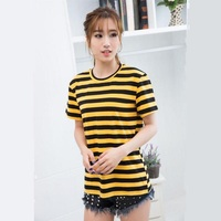 2016 Europe And America Small Bee Yellow Playful Loose Black Striped Short Sleeved Round Neck T