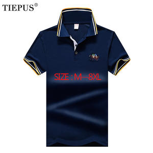 TIEPUS new POLO shirt men cotton fashion embroidery plus size 5XL,6XL, 7XL, 8XL Brand POLO men's casual Business POLO Shirt Men