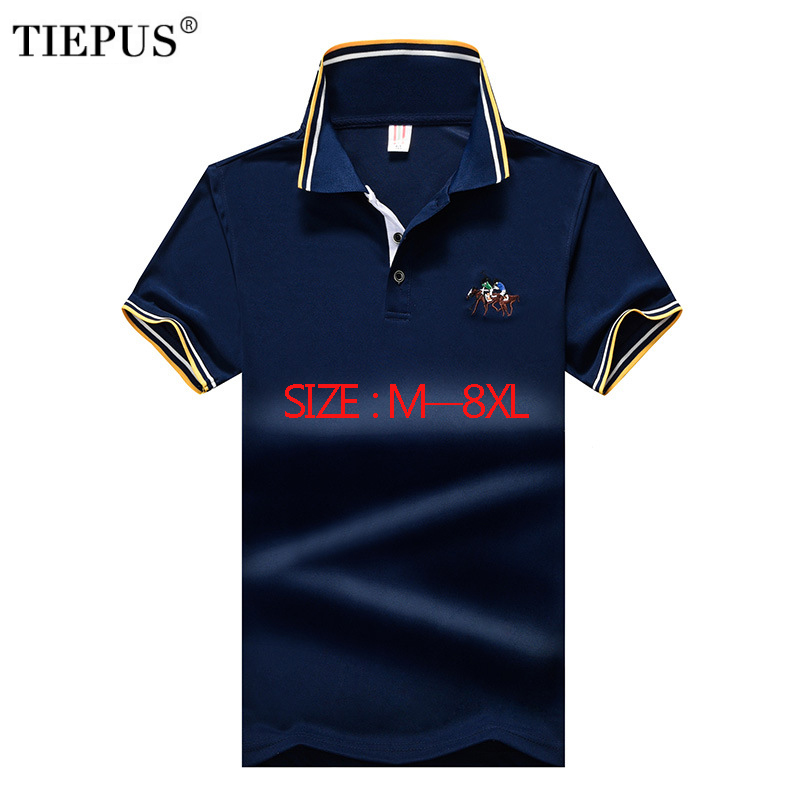 TIEPUS new <font><b>POLO</b></font> <font><b>shirt</b></font> <font><b>men</b></font> cotton fashion embroidery plus size 5XL,6XL, 7XL, <font><b>8XL</b></font> Brand <font><b>POLO</b></font> <font><b>men's</b></font> casual Business <font><b>POLO</b></font> <font><b>Shirt</b></font> <font><b>Men</b></font> image