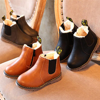 2017 New Children Baby Shoes Slippers Winter Snow Warm Ankle Boots Zipper Chelsea Shoes Kids First