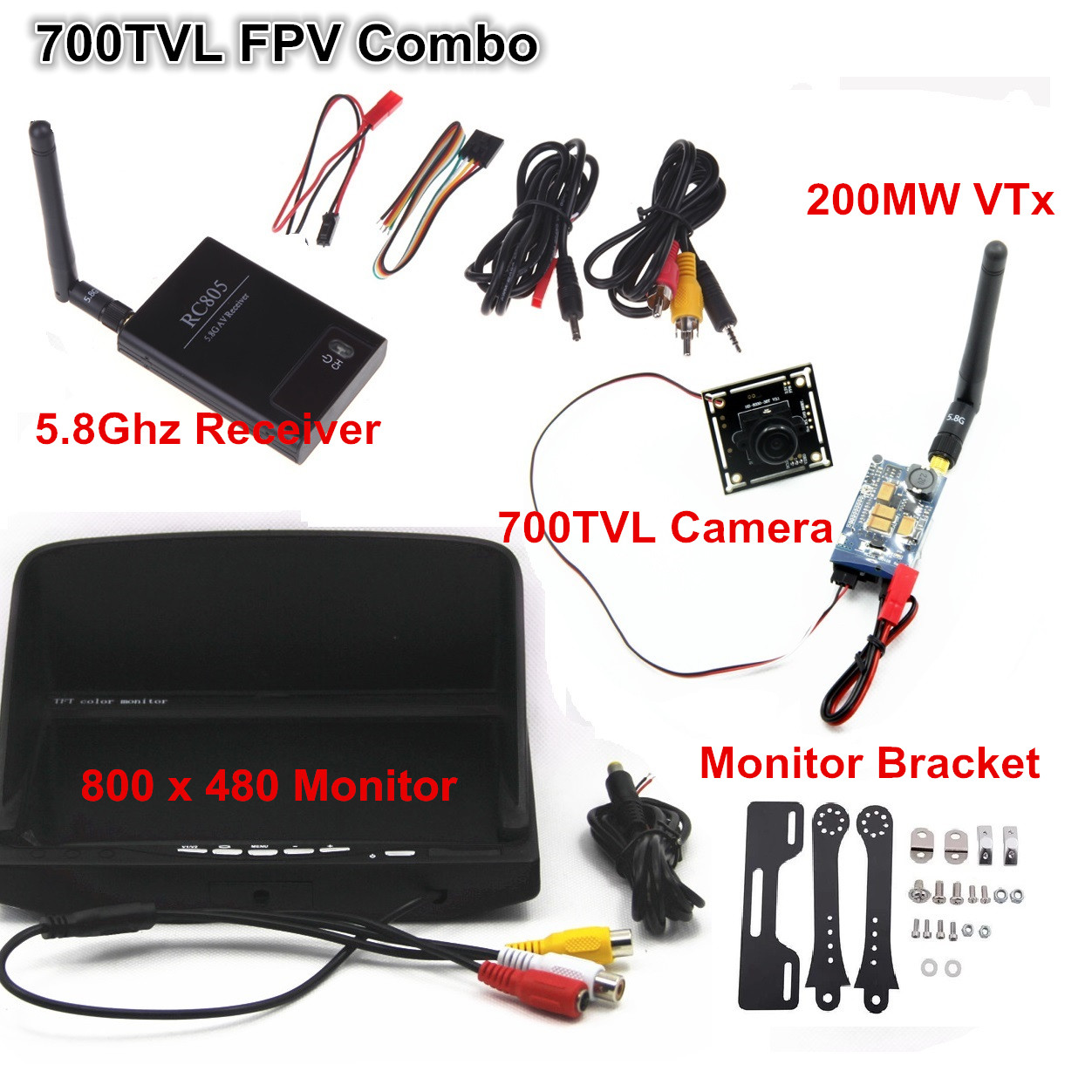 5.8ghz FPV Combo Boscam 5.8g 200mw Tx + Recevier RC805 + 800 x 480 Monitor + 700TVL Camera + Mounting Bracket Set fpv display mounting bracket metal holder shortcut for dji rc transmitter