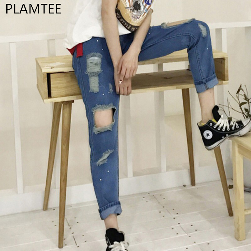 PLAMTEE Boyfriend Hole Ripped Jeans Vintage Denim Mid Waist Slim Fit Women Pencil Pants Casual Pants for Girl Jeans Femininas jeans woman summer ripped boyfriend jeans for women red lips denim mid waist distressed pencil pants femme casual long pants z15