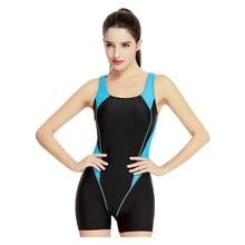 10ee0d7d94ec0 New Sports Swimwear One Piece Swimsuit Swimming Tight Women Long Leg  Boyshorts Bodysuits(China)