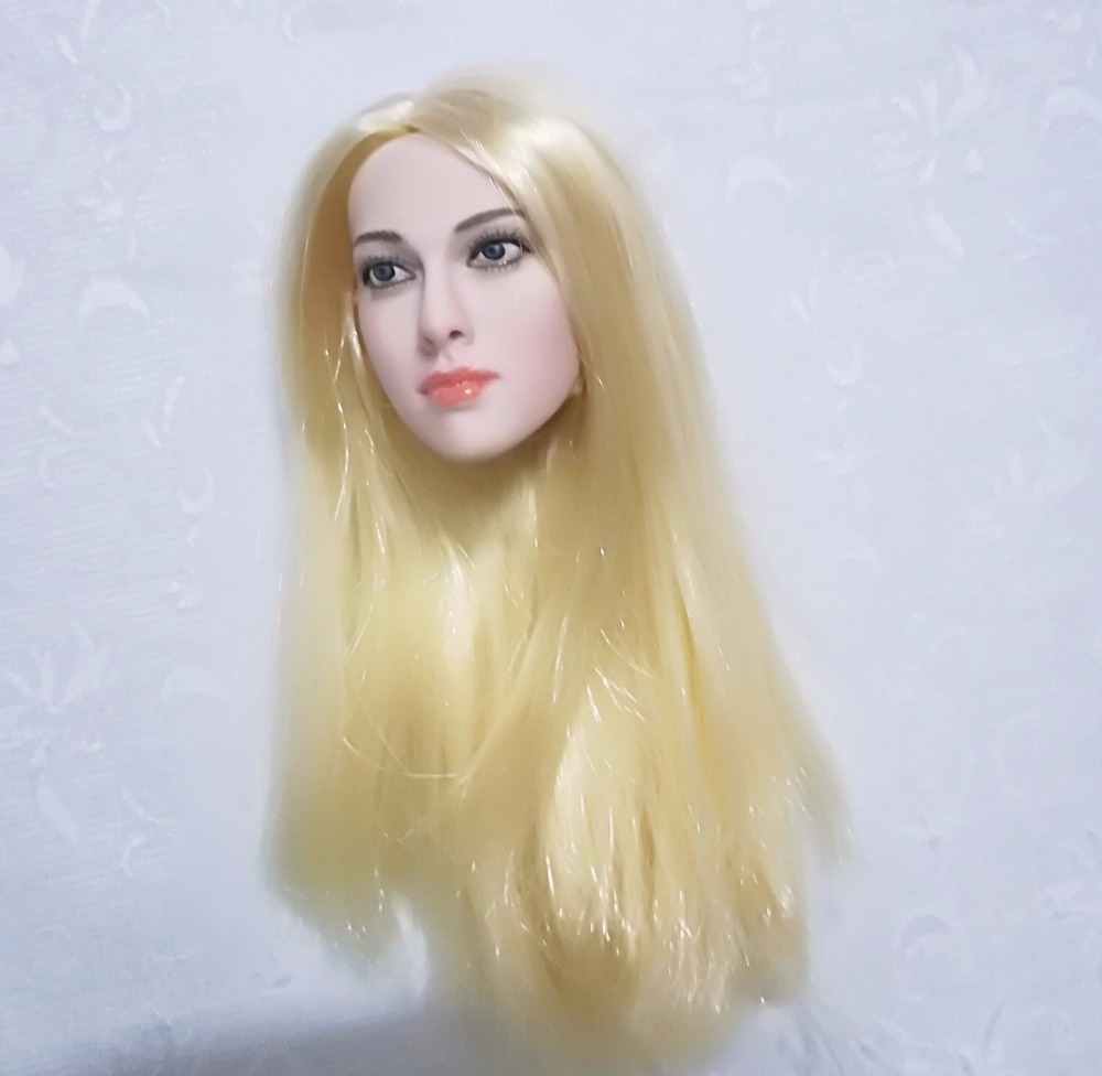 1//6 Seamless Body+Blond Hair Head Scupt Full Set Female Acion Figure Doll Model