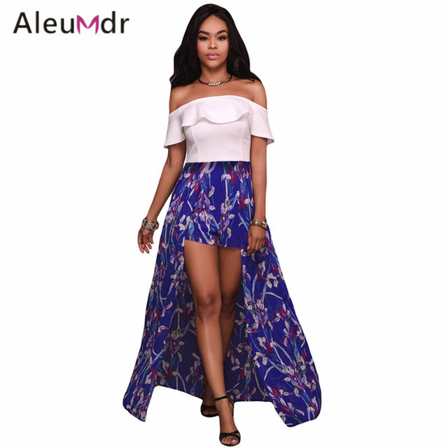 77f03c75f69 Aleumdr Overalls For Women Elegant High-Low Jumpsuits Ruffle Off Shoulder  And Floral Maxi Romper LC64279 Salopette Femme