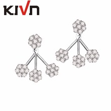 KIVN Fashion Jewelry Flower CZ Cubic zirconia Womens Girls Bridal Wedding Earring Ear Jackets Christmas Birthday Mothers Gifts