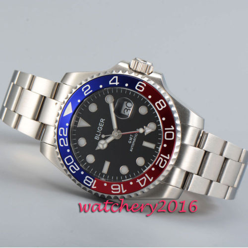 43mm Bliger black dial stainless steel case sapphire glass Luminous Marks GMT automatic movement Men s