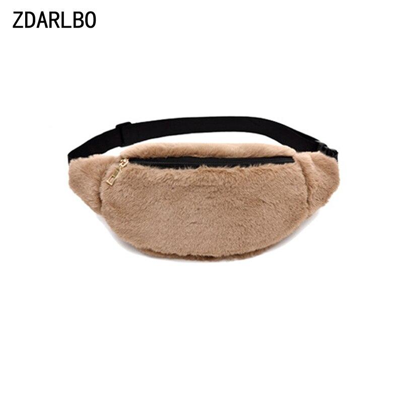 Women's Fanny Pack Bananka Soft Rabbit Hair Waist Bag Female Belt Bag Shoulder Crossbody Chest Bags Handy Leopard Waist Pack