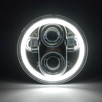 Marloo 5.75 inch LED Headlights Full Halo Lights Kit Fit Harley Night Rod Iron 883 Dyna Sportster Indian Scout Triumph