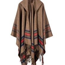 Осень Зима палантины женское Вязаное пончо накидка с капюшоном в полоску большой кардиган одеяло длинный шаль шарф Кашемир Пашмина