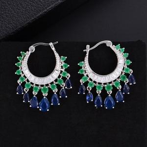 Image 3 - GODK 34mm  Elegant Water Drop Design Green Blue Full Mirco Cubic Zirconia Bridal Wedding Women Tassel Earring Fashion Jewelry
