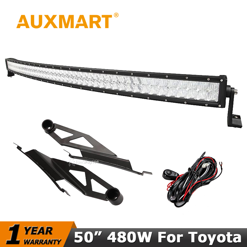 Auxmart 50 inch Curved LED Light Bar 480W CREE Chips 5D Offroad Driving Light Mount Bracket For <font><b>Toyota</b></font> <font><b>Tundra</b></font> 2007~2014