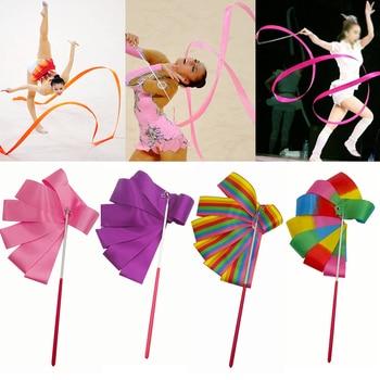 2M/4M Colorful Ribbon Gymnastic Gym Ribbons Dance Ribbon Rhythmic Art Gymnastic Ballet Streamer Twirling Rod Stick For Training