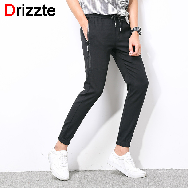 Drizzte Mens Zip Pocket Stretch Ankle Length Jogger Pants Trousers Black Grey Size 28 29 30 31 32 33 34 36 38