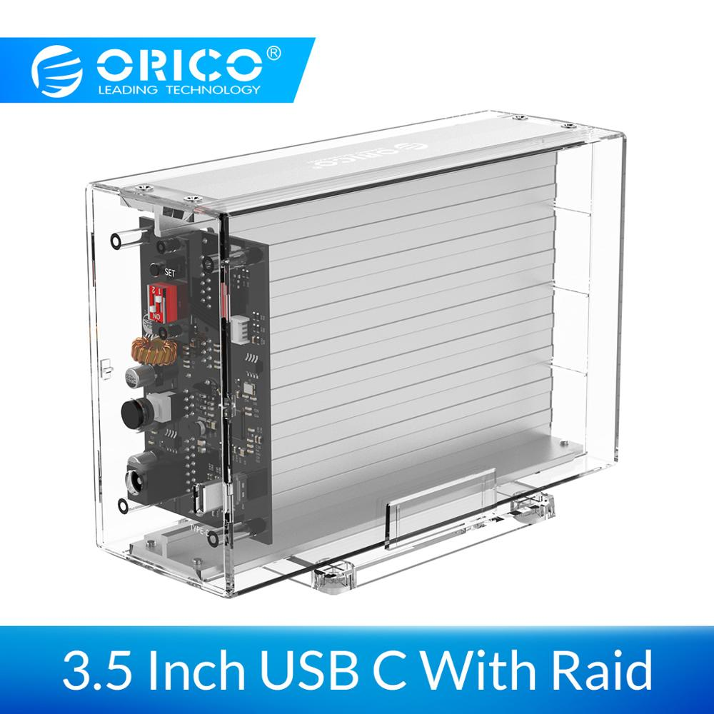 ORICO Daul 3.5 USB C HDD Case With Raid Function 10Gbps SATA to USB C Transparent With Aluminum HDD Dock Station UASP 24TB-in HDD Enclosure from Computer & Office