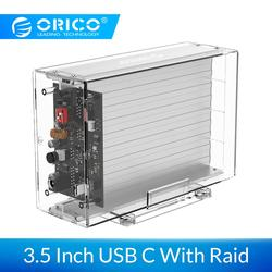 ORICO Daul 3.5'' USB C HDD Case With Raid Function 10Gbps SATA to USB C Transparent With Aluminum HDD Dock Station UASP 24TB