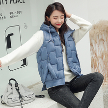 Women Vest Winter Jacket Pocket Hooded Coat Warm Casual Cotton Padded Vest female Slim Sleeveless Waistcoat цена 2017